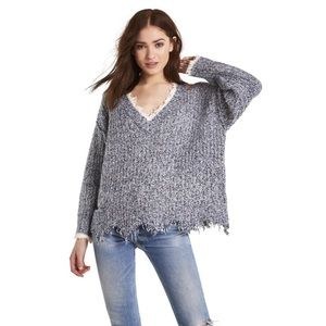 NWT Wildfox Grey Echo Distressed Sweater Size L